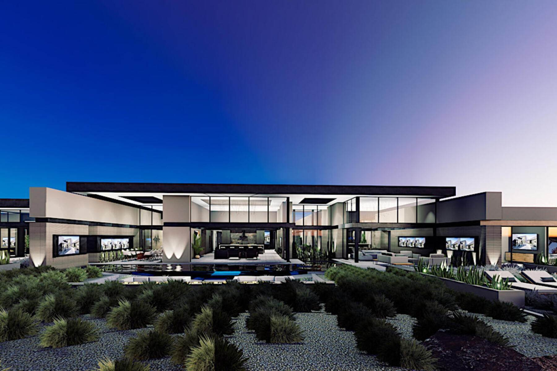 Single Family Homes for Active at STRATA New Single Story Modern Custom with Sensational and Sweeping Strip View 720 Dragon Peak Drive Henderson, Nevada 89012 United States
